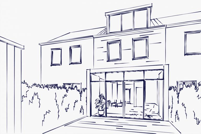 Glazen aanbouw Rotterdam exterieur schets