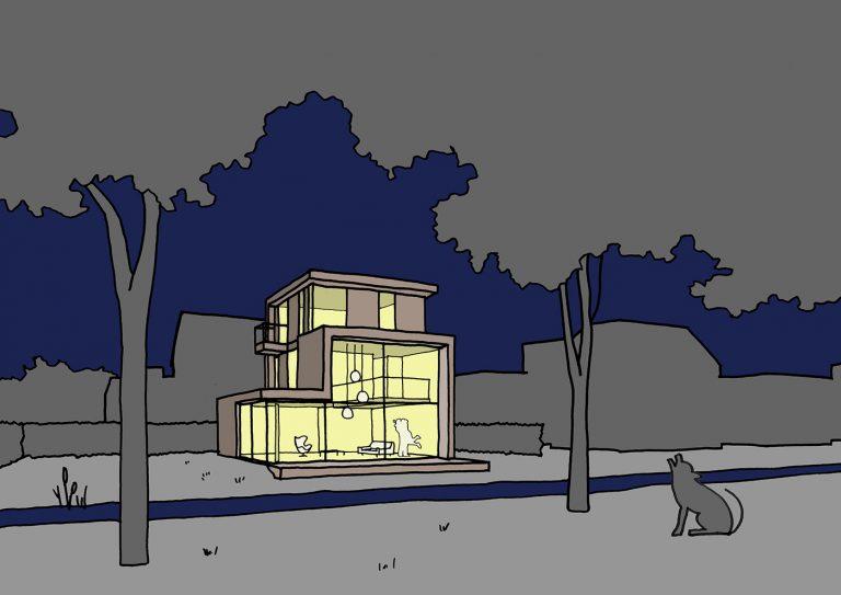Villa D+H schets 1 bos bij nacht