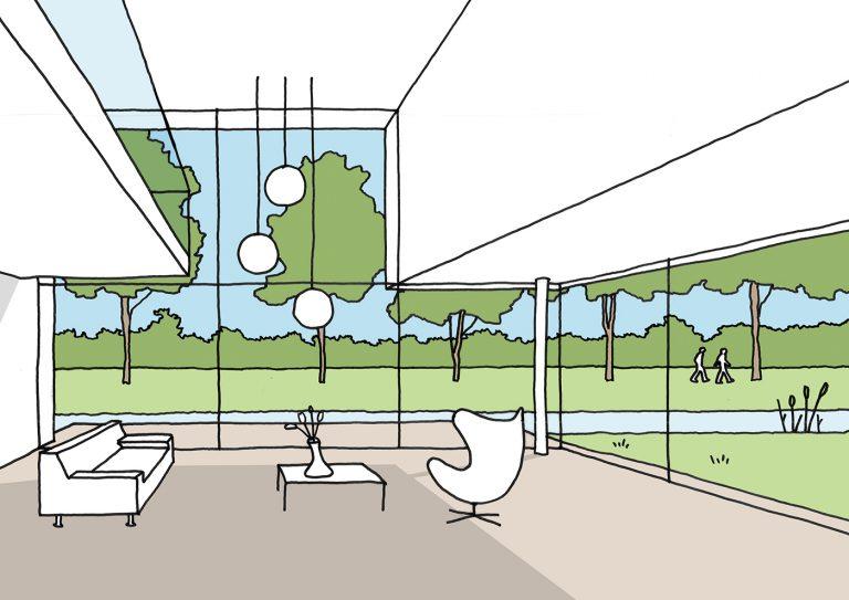 Villa D+H schets 1 interieur